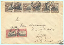 1924 MOZAMBIQUE COMPANY COTTON (13 STAMPS) & SUGAR COVER TO SWITZERLAND