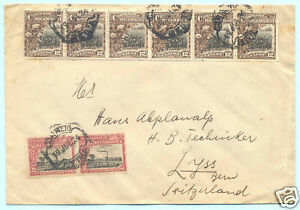 1924 MOZAMBIQUE COMPANY COTTON (13 STAMPS) & SUGAR COVER TO SWITZERLAND