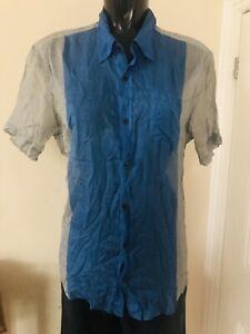 Dries Van Noten Men's Short Sleeve Silk Blend Shirt Size :48 Blue Check