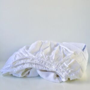 100% Pure Flax Linen Fitted Bottom Sheet - White - Double, Queen, King