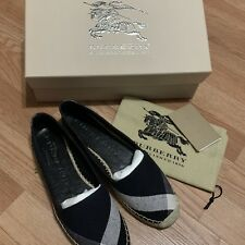 f0f6eb7a6c1 BURBERRY Hodgeson Navy Check Canvas Espadrille Flats Shoes Size 39 EU NEW