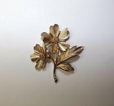 Vintage Signed Crown Trifari Brushed Goldtone Double Flower Brooch