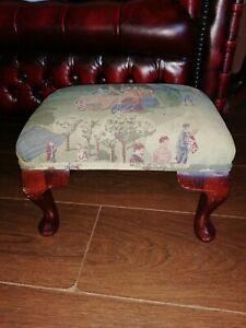 Vintage Queen Anne  Footstool  Old Scene