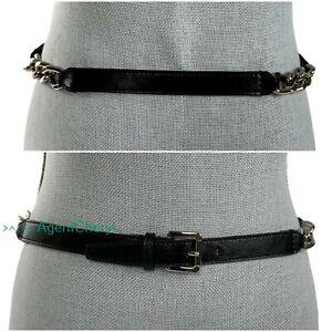 "NEW MICHAEL KORS XL Black Leather & Silver Chain LInk Belt Fits 41.75-43"" Waist"