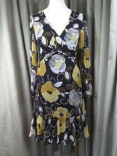 Laura Ashley 100% Soie Motif Floral Noir Jaune Robe de cocktail Noir UK14 EU42