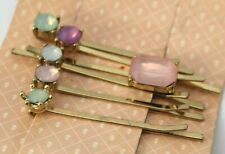 Ruby & Bloom Bridal Hair Clip Set of 6 Headpiece Colorful Gold Jeweled $38 NEW