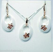 """TAPERED OVAL WHITE CERAMIC ROSE GOLD OVER SOLID SILVER HAWAIIAN TURTLE SET 18"""""""