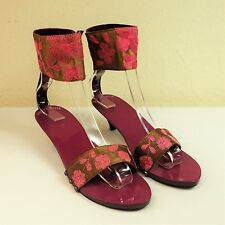 Antik Batik 39 violet en bois Sandales or velours de soie sangle de cheville Chaton Talon Mule