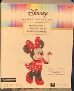 DISNEY Lighted MINNIE Mouse Sculpture Pre Lit Outdoor Christmas Decor Yard Lawn