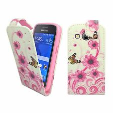 CASE FOR SAMSUNG GALAXY ACE 4 WHITE PINK SWIRL FLOWER BUTTERFLY PU LEATHER FLIP