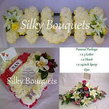 Package Mum Silk Funeral Flowers Nan Wife Artificial Wreath 3 Piece Memorial Set