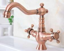 Antique Red Copper Swivel Spout Bathroom Basin Sink Cold Water Faucet Tap