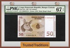 TT PK 84A 1997 CONGO DEMOCRATIC REPUBLIC 50 CENTIMES PMG 67 EPQ POPULATION ONE