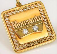 VTG MONSANTO 10K YELLOW GOLD EMPLOYEE SERVICE YEARS DIAMOND PENDANT GF BACK !