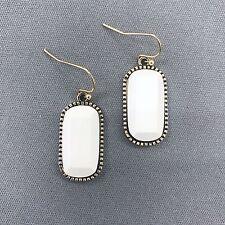 Antique Gold Finished White Stone Oval Shape Dangle Hook Earrings