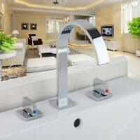 US Widespread Two Handles Bathroom Sink Brass Waterfall Chrome Faucet mixer tap