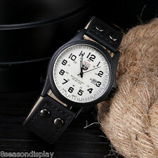 FL Military Sports Analog Quartz Wrist Watch Men Fashion Faux Leather Date Watch