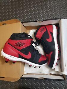 Nike Air Jordan 1 Mid TD Bred Men's Football Cleats Red AR5604-061 Sz 11