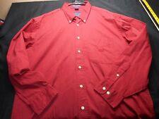 Oscar De la Renta Red Long Sleeve Button large Cotton Men's Shirt