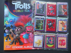 TOPPS TROLLS WORLD TOUR COMPLETE 167 STICKER SET &  ALBUM