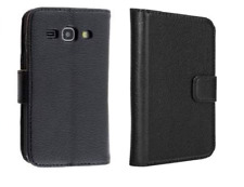 Muvit Samsung Galaxy Ace 4 Flip Leather Card Wallet Cover Phone Case Black Fold