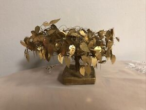 Vintage Mid Century Twisted Wire Golden Leaves Good Luck Money Fantasy Tree