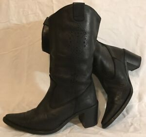 B.L.O.X Black Mid Calf Leather Lovely Boots Size 5 (851vv)