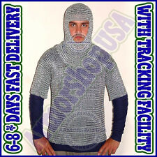 ALUMINIUM LARGE 9mm 16 guage ROUND RIVETED HANDMADE CHAIN MAIL SHIRT with COIF