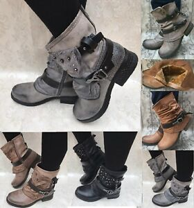 Biker Stiefeletten Damen Stiefel Nieten Boots gefüttert Worker Herbst  NEU ST140