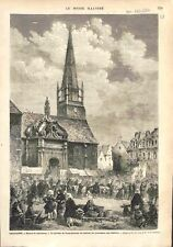 Bretagne Procession & le Pardon de Saint-Cornely de Carnac Morbihan GRAVURE 1874
