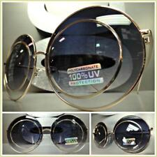 OVERSIZED VINTAGE RETRO Style SUN GLASSES Unique Funky Large Round Gold Frame
