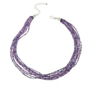 """Jay King 8-Strand Amethyst & Turquoise Bead 20"""" Necklace"""
