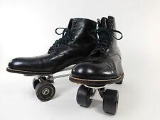 Vintage Stacy Adams DIsco Roller Skates SureGrip Leather Black Mens Boots 13 D