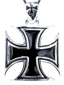 XXL Eisernes Kreuz Ketten Anhänger Edelstahl gr.Öse Iron Cross Tempelritter 103