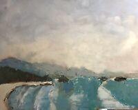 Original 16x20 Landscape Oil Painting Vintage Expressive By Jeff Barnes