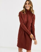 NWT - VERO MODA Women's KNITTED ROLL NECK Brown MINI DRESS - M