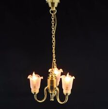 1:12 Scale Working 3 Arm Up Tulip Shade Chandelier Light Tumdee Doll House 6007