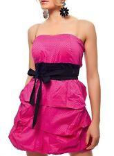 Sexy Femmes Rockabilly Bandeau Mini Robe Noeud Pois 34/36/38 Top Noir Rose