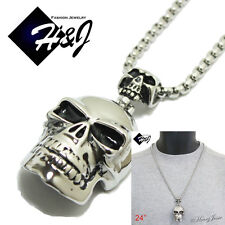 "24""MEN's Stainless Steel 5mm Silver Box Link Chain Necklace SKULL Pendant*P44"