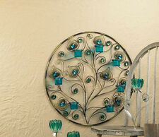 large teal blue turquoise Peacock feather wall sconce sculpture Candle holder