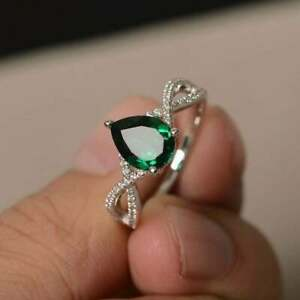 925 Sterling silver Pear Green emerald Handmade May Birthstone Ring Size 12.5
