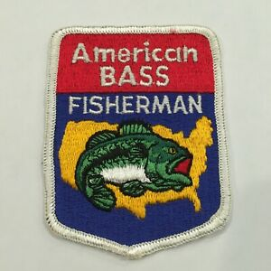 """Vintage American Bass Fisherman Sew on Patch Bass Fishing patch 3X4"""""""