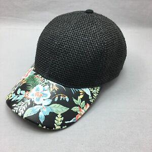 Black Straw Floral  Hat Strap Back Adjustable Cap