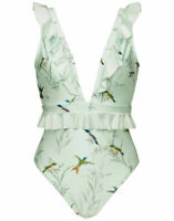 NEW Ted Baker Fortune Tropical Deep V Ruffle One-piece Swimsuit - size XS #NA484