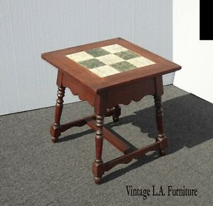 Vintage Monterey Mission Style Tile Top Side Table ~ End Table French Country