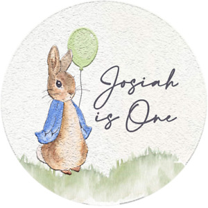 24 Glossy Personalised Peter Rabbit Stickers For Party/Sweet Cone Bags 45mm Diam