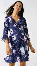 BNWT LIPSY Size 10 Multi Navy Stella Fluted Hem Floral Wrap Dress,Satin feel,New