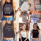 Womens Crop Top Sleeveless Summer Casual Tank Tops Vest Blouse T Shirt 6 8 10 12