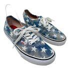 Vans Casual Sneakers Low Top Women 8 Stars Washed Blue Denim American Patriotic