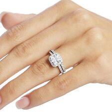 Sterling Silver Engagement Ring Cubic Zirconia Princess Cut Halo Bridal Set - 9